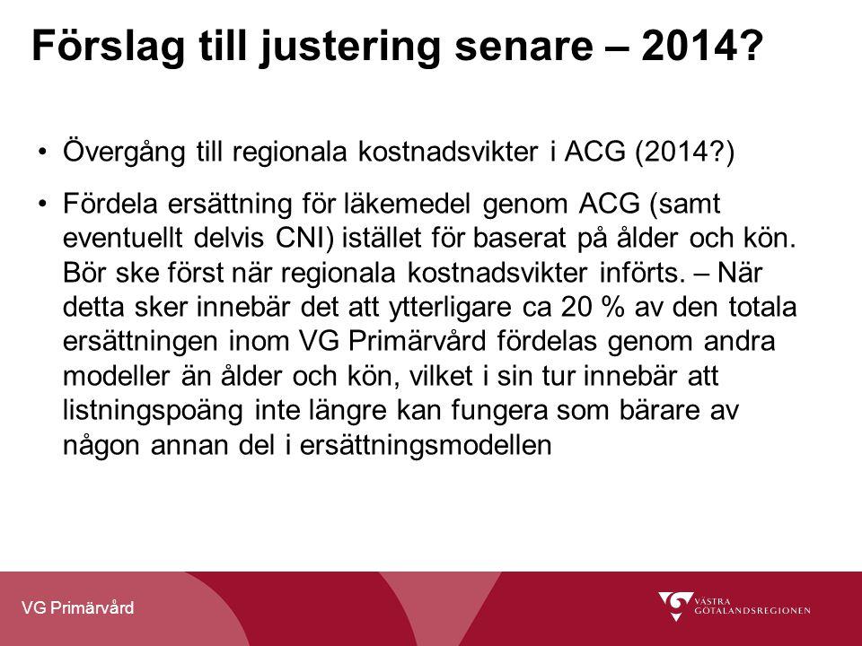 VG Primärvård Förslag till justering senare – 2014? Övergång till regionala kostnadsvikter i ACG (2014?) Fördela ersättning för läkemedel genom ACG (s