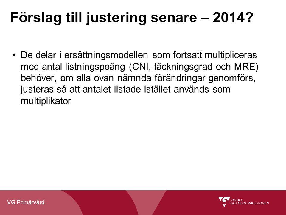 VG Primärvård Förslag till justering senare – 2014? De delar i ersättningsmodellen som fortsatt multipliceras med antal listningspoäng (CNI, täcknings