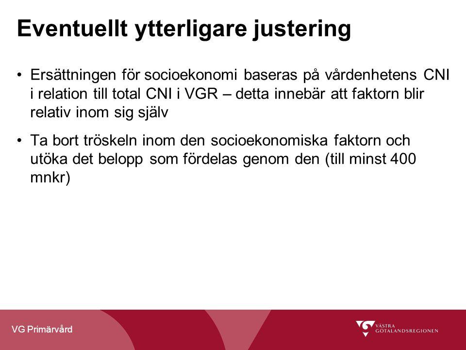 VG Primärvård Eventuellt ytterligare justering Ersättningen för socioekonomi baseras på vårdenhetens CNI i relation till total CNI i VGR – detta inneb