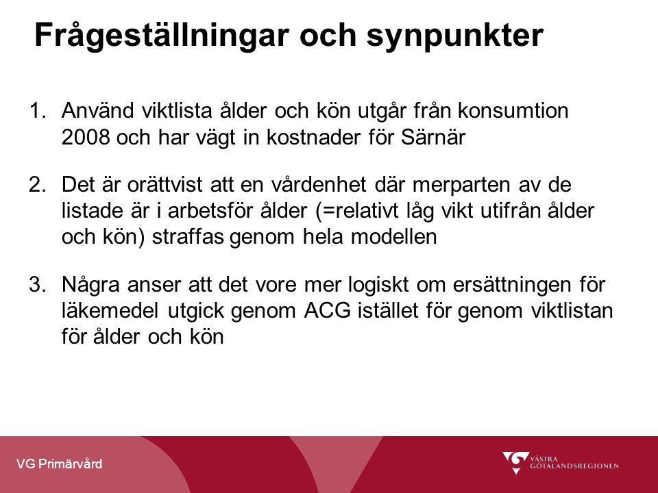 VG Primärvård Frågeställningar och synpunkter 1.Använd viktlista ålder och kön utgår från konsumtion 2008 och har vägt in kostnader för Särnär 2.Det ä