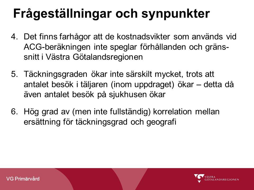 VG Primärvård Frågeställningar och synpunkter 4.Det finns farhågor att de kostnadsvikter som används vid ACG-beräkningen inte speglar förhållanden och gräns- snitt i Västra Götalandsregionen 5.Täckningsgraden ökar inte särskilt mycket, trots att antalet besök i täljaren (inom uppdraget) ökar – detta då även antalet besök på sjukhusen ökar 6.Hög grad av (men inte fullständig) korrelation mellan ersättning för täckningsgrad och geografi