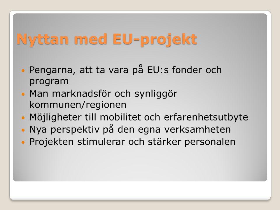 Nyttan med EU-projekt Pengarna, att ta vara på EU:s fonder och program Man marknadsför och synliggör kommunen/regionen Möjligheter till mobilitet och erfarenhetsutbyte Nya perspektiv på den egna verksamheten Projekten stimulerar och stärker personalen