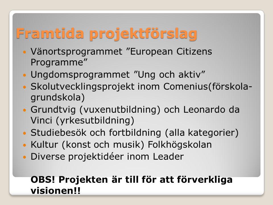 """Framtida projektförslag Vänortsprogrammet """"European Citizens Programme"""" Ungdomsprogrammet """"Ung och aktiv"""" Skolutvecklingsprojekt inom Comenius(förskol"""