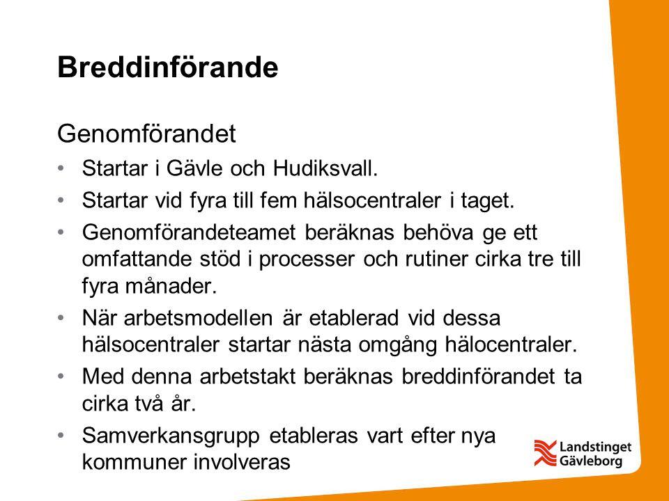 Breddinförande Genomförandet Startar i Gävle och Hudiksvall.