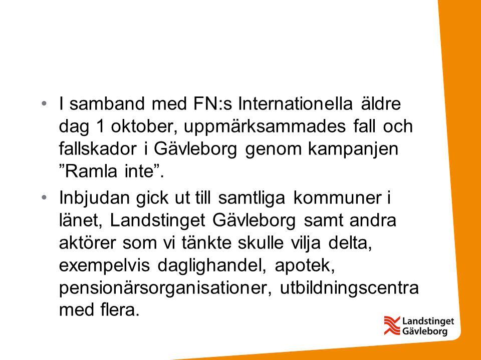 I samband med FN:s Internationella äldre dag 1 oktober, uppmärksammades fall och fallskador i Gävleborg genom kampanjen Ramla inte .