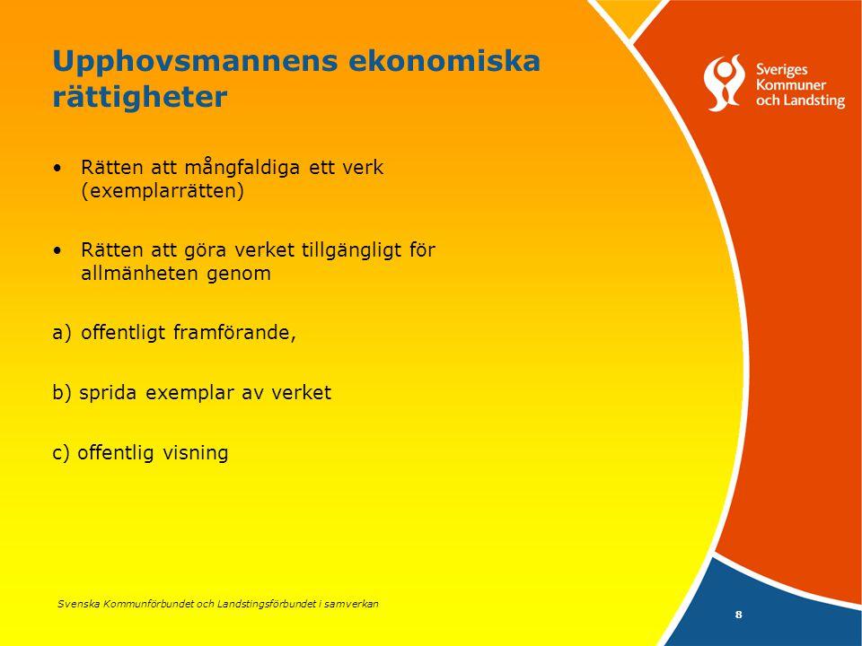 Svenska Kommunförbundet och Landstingsförbundet i samverkan 19 Inskränkningar i upphovsrätten (forts.) Allmänna handlingar skall oavsett upphovsrätten tillhandahållas enligt 2 kap.