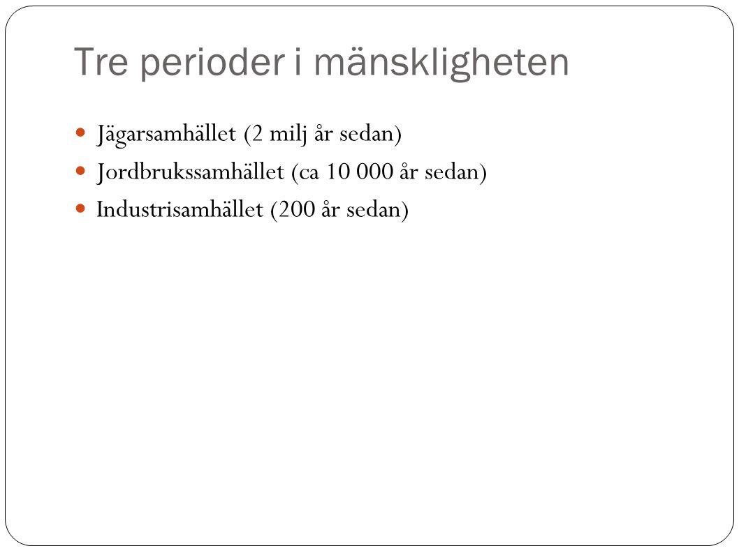 Tre perioder i mänskligheten Jägarsamhället (2 milj år sedan)  Jordbrukssamhället (ca 10 000 år sedan)  Industrisamhället (200 år sedan) 