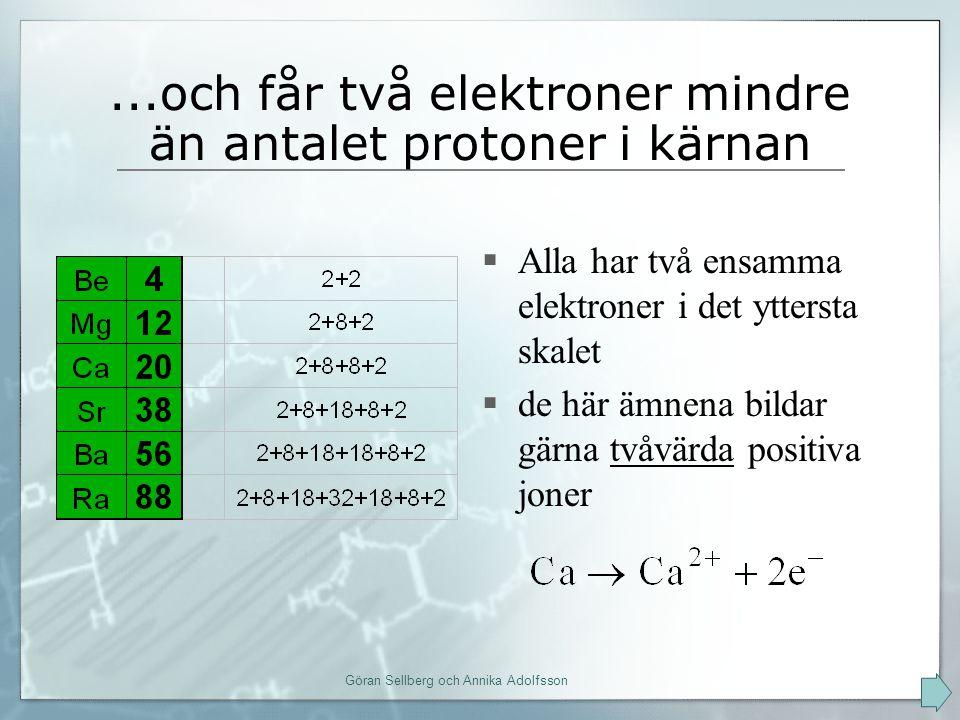 ...och får två elektroner mindre än antalet protoner i kärnan  Alla har två ensamma elektroner i det yttersta skalet  de här ämnena bildar gärna tvåvärda positiva joner Göran Sellberg och Annika Adolfsson