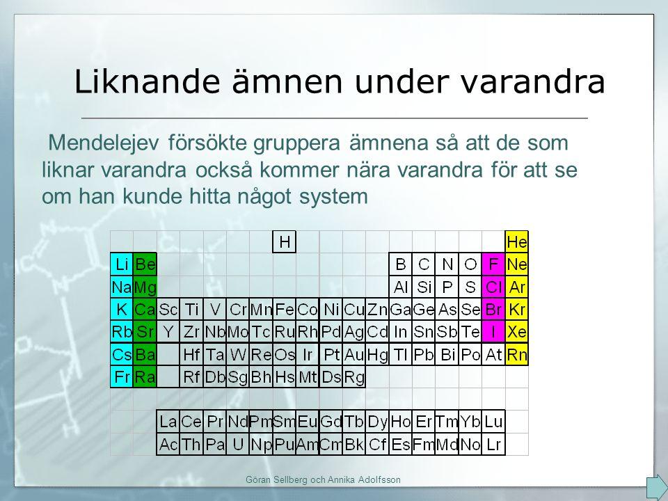 Liknande ämnen under varandra Göran Sellberg och Annika Adolfsson Mendelejev försökte gruppera ämnena så att de som liknar varandra också kommer nära varandra för att se om han kunde hitta något system