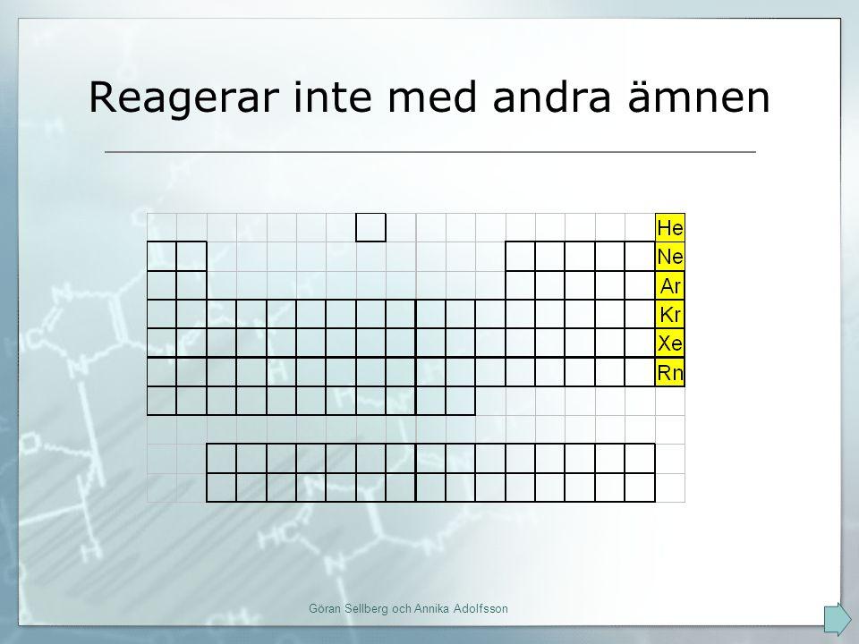 Vi kallar dem ädelgaser nr 2, helium, He, har ett fullt K-skal (2 st) nr 10, neon, Ne, har ett fullt K-skal (2) och ett fullt L-skal (8 st) alla övriga har 8 i sina yttersta skal detta gör dem stabila Göran Sellberg och Annika Adolfsson