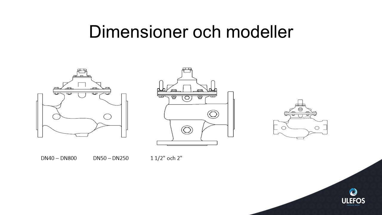Dimensioner och modeller DN40 – DN800 DN50 – DN250 1 1/2 och 2