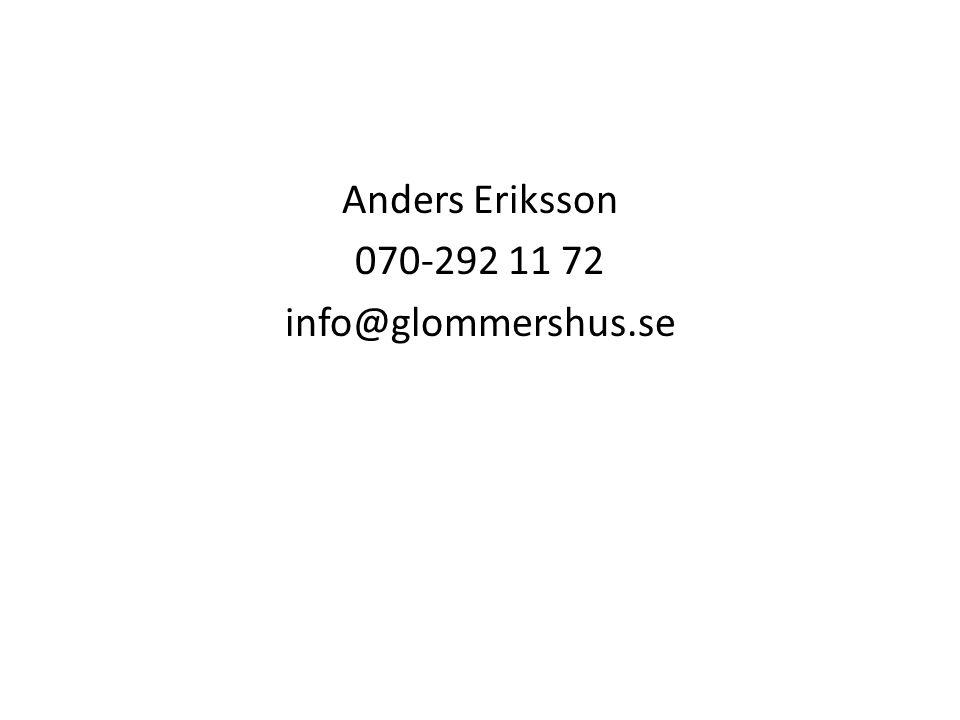 Anders Eriksson 070-292 11 72 info@glommershus.se