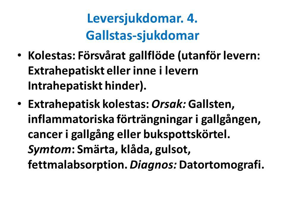 Leversjukdomar. 4. Gallstas-sjukdomar Kolestas: Försvårat gallflöde (utanför levern: Extrahepatiskt eller inne i levern Intrahepatiskt hinder). Extrah