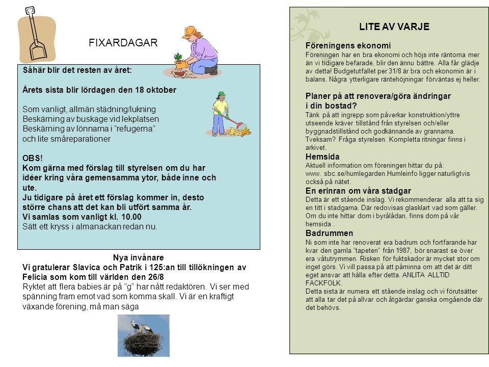 FIXARDAGAR Såhär blir det resten av året: Årets sista blir lördagen den 18 oktober Som vanligt, allmän städning/lukning Beskärning av buskage vid lekplatsen Beskärning av lönnarna i refugerna och lite småreparationer OBS.