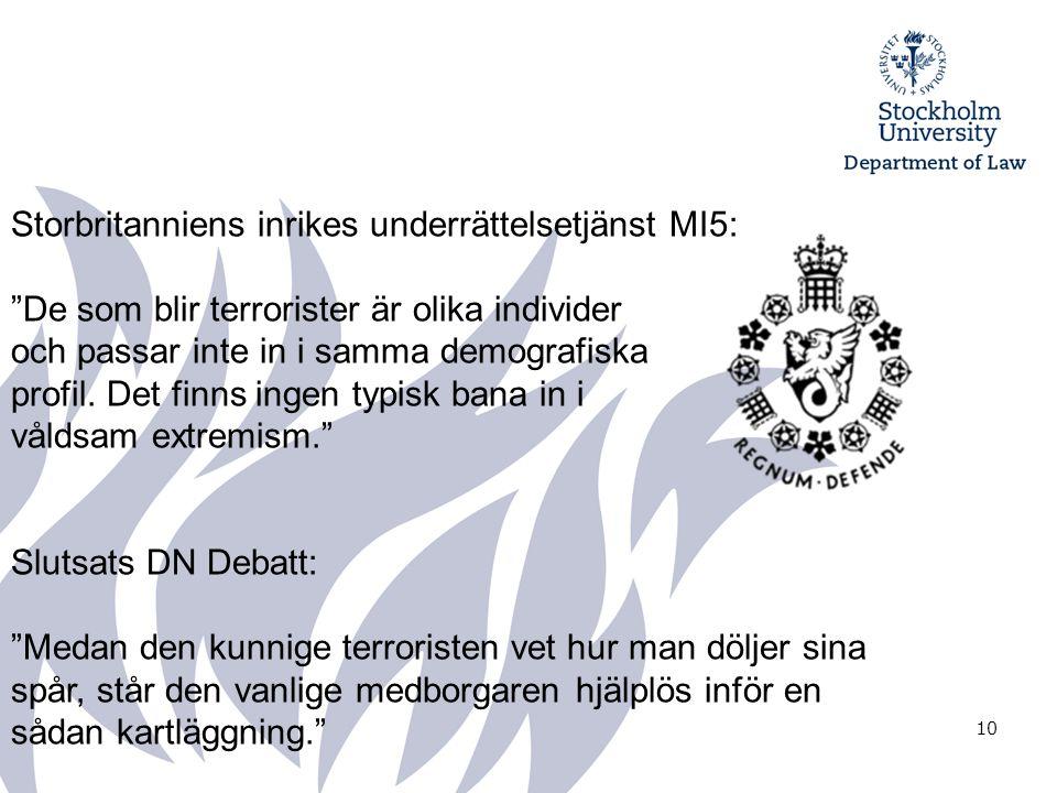 10 Storbritanniens inrikes underrättelsetjänst MI5: De som blir terrorister är olika individer och passar inte in i samma demografiska profil.