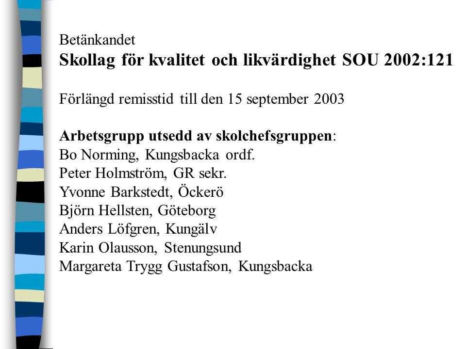 Betänkandet Skollag för kvalitet och likvärdighet SOU 2002:121 Förlängd remisstid till den 15 september 2003 Arbetsgrupp utsedd av skolchefsgruppen: Bo Norming, Kungsbacka ordf.