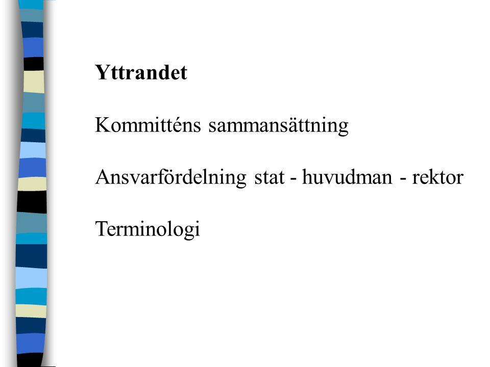 Yttrandet Kommitténs sammansättning Ansvarfördelning stat - huvudman - rektor Terminologi
