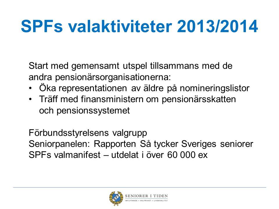 SPFs valaktiviteter 2013/2014 Start med gemensamt utspel tillsammans med de andra pensionärsorganisationerna: Öka representationen av äldre på nominer