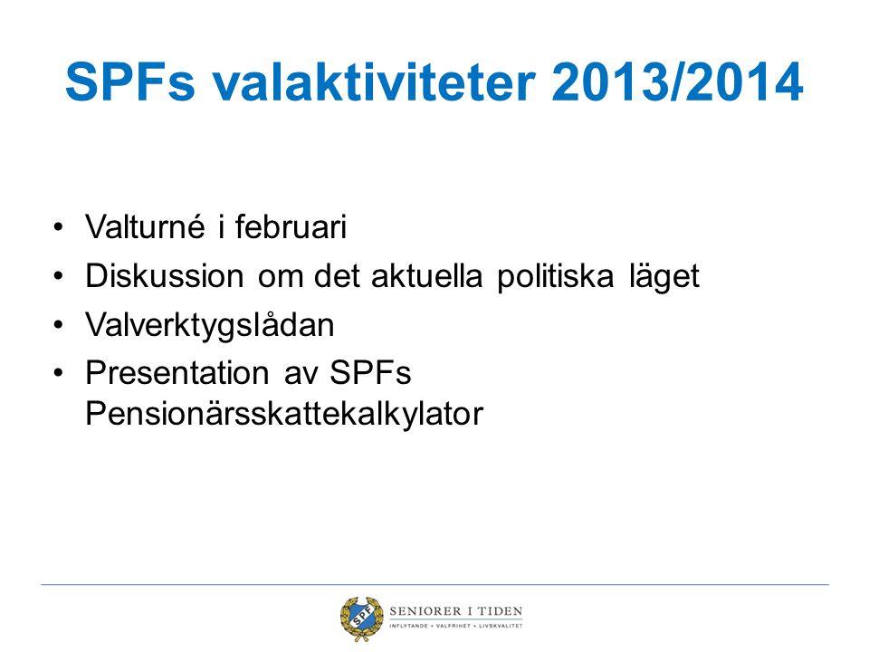 SPFs valaktiviteter 2013/2014 Valturné i februari Diskussion om det aktuella politiska läget Valverktygslådan Presentation av SPFs Pensionärsskattekal