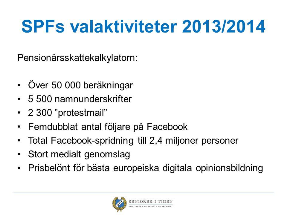 """SPFs valaktiviteter 2013/2014 Pensionärsskattekalkylatorn: Över 50 000 beräkningar 5 500 namnunderskrifter 2 300 """"protestmail"""" Femdubblat antal följar"""