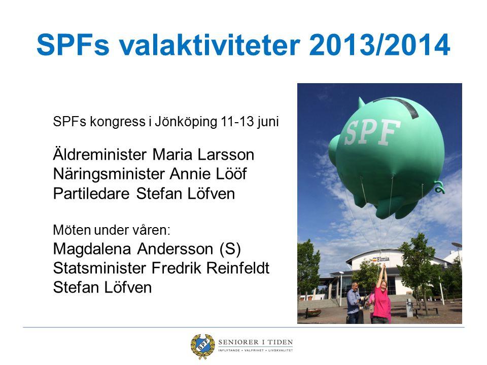 SPFs valaktiviteter 2013/2014 SPFs kongress i Jönköping 11-13 juni Äldreminister Maria Larsson Näringsminister Annie Lööf Partiledare Stefan Löfven Mö