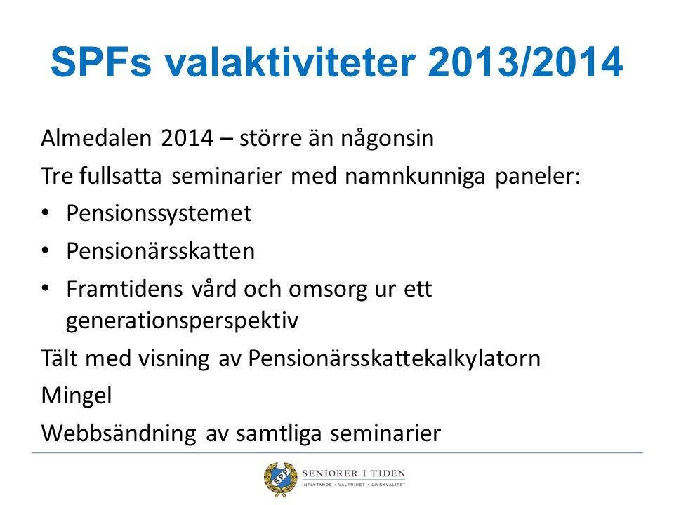 SPFs valaktiviteter 2013/2014 Almedalen 2014 – större än någonsin Tre fullsatta seminarier med namnkunniga paneler: Pensionssystemet Pensionärsskatten