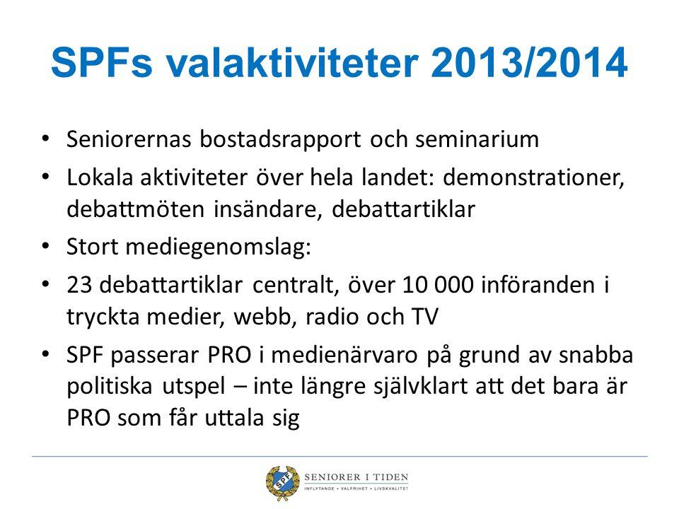 SPFs valaktiviteter 2013/2014 Seniorernas bostadsrapport och seminarium Lokala aktiviteter över hela landet: demonstrationer, debattmöten insändare, d