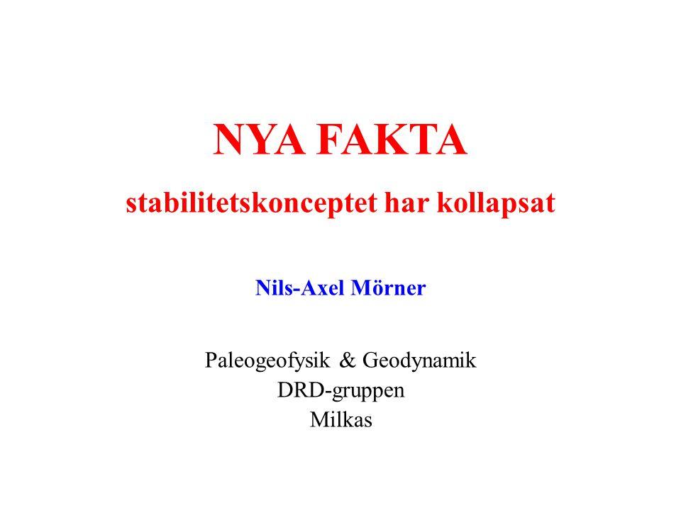 NYA FAKTA stabilitetskonceptet har kollapsat Nils-Axel Mörner Paleogeofysik & Geodynamik DRD-gruppen Milkas