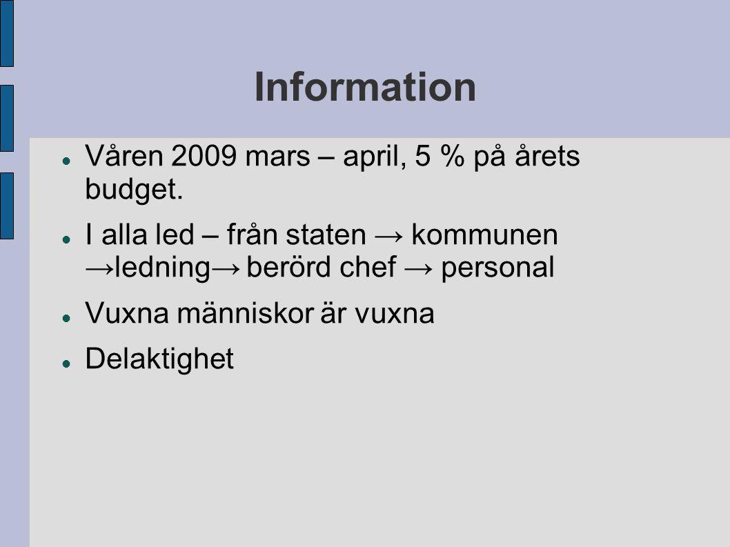 Information Våren 2009 mars – april, 5 % på årets budget. I alla led – från staten → kommunen →ledning→ berörd chef → personal Vuxna människor är vuxn