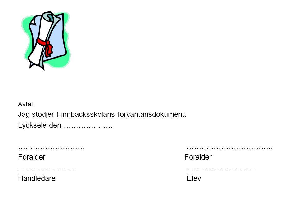 Avtal Jag stödjer Finnbacksskolans förväntansdokument. Lycksele den ……………….. ……………………… …………………………….. Förälder …………………… ………………………. Handledare Elev