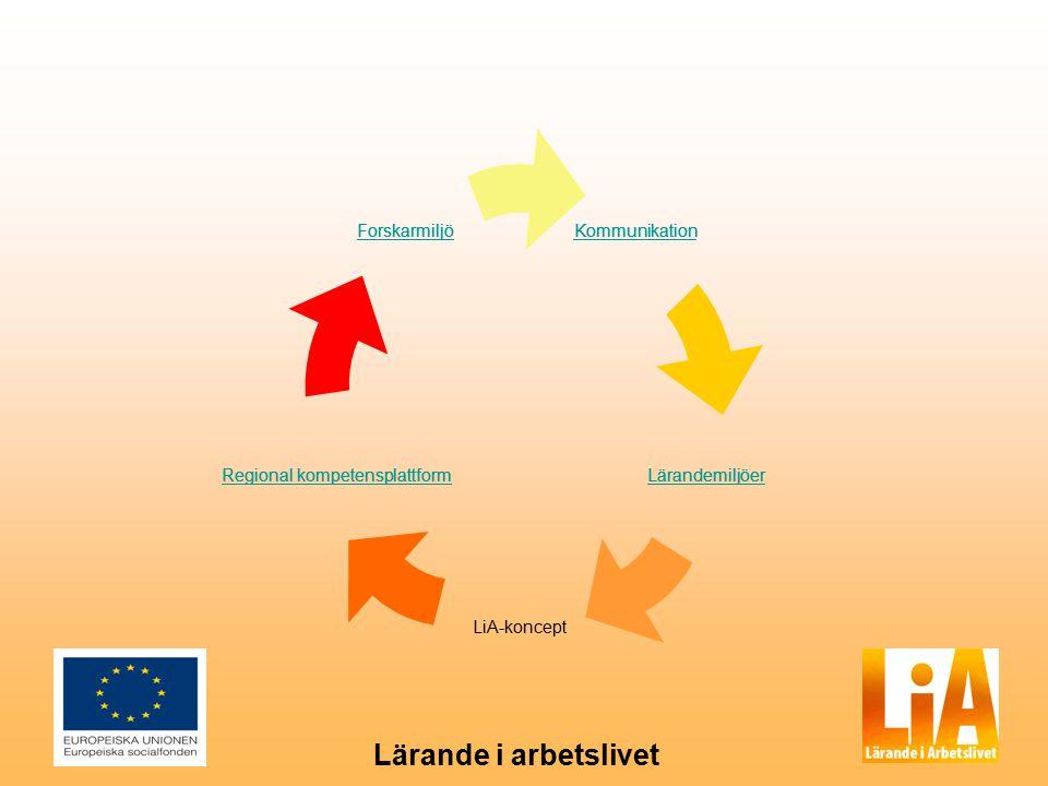 Lärande i arbetslivet Kommunikation Regional kompetensplattform Forskarmiljö Lärandemiljöer Kommunikation Lärandemiljöer LiA-koncept Regional kompetensplattformRegional kompetensplattform Forskarmiljö