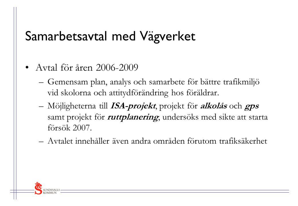 Samarbetsavtal med Vägverket Avtal för åren 2006-2009 –Gemensam plan, analys och samarbete för bättre trafikmiljö vid skolorna och attitydförändring hos föräldrar.