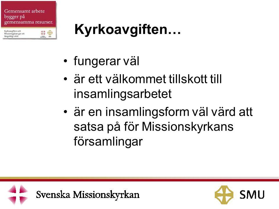 fungerar väl är ett välkommet tillskott till insamlingsarbetet är en insamlingsform väl värd att satsa på för Missionskyrkans församlingar Kyrkoavgiften…