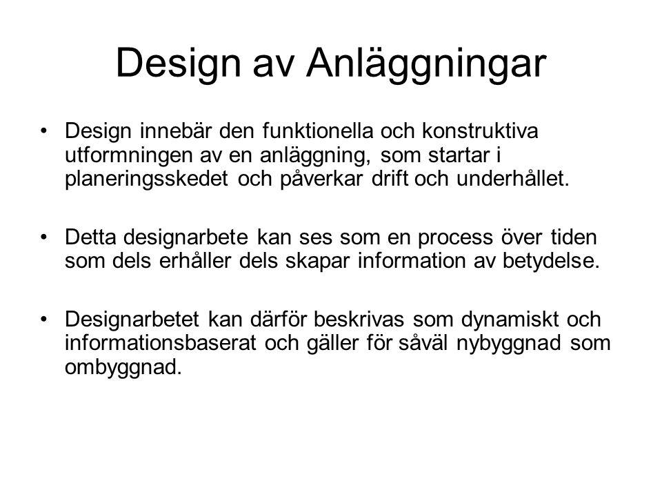Design av Anläggningar Design innebär den funktionella och konstruktiva utformningen av en anläggning, som startar i planeringsskedet och påverkar drift och underhållet.