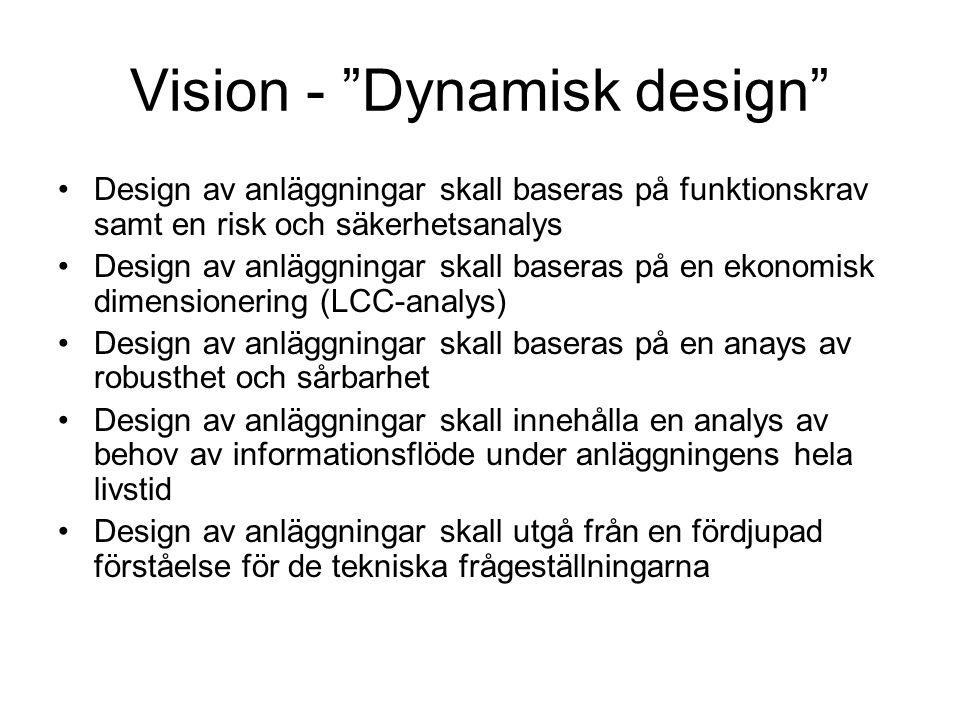 Vision - Dynamisk design Design av anläggningar skall baseras på funktionskrav samt en risk och säkerhetsanalys Design av anläggningar skall baseras på en ekonomisk dimensionering (LCC-analys) Design av anläggningar skall baseras på en anays av robusthet och sårbarhet Design av anläggningar skall innehålla en analys av behov av informationsflöde under anläggningens hela livstid Design av anläggningar skall utgå från en fördjupad förståelse för de tekniska frågeställningarna