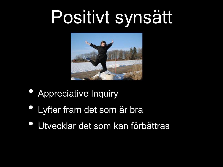 Positivt synsätt Appreciative Inquiry Lyfter fram det som är bra Utvecklar det som kan förbättras