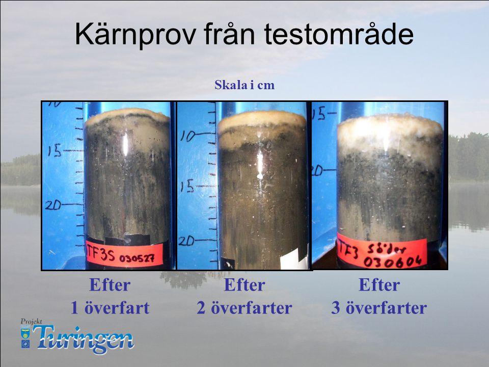 Kärnprov från testområde Efter 1 överfart Efter 2 överfarter Efter 3 överfarter Skala i cm