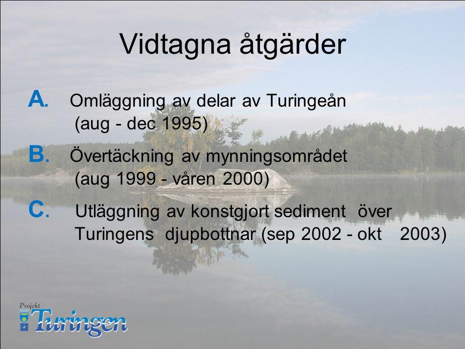Vidtagna åtgärder A. Omläggning av delar av Turingeån (aug - dec 1995) B.
