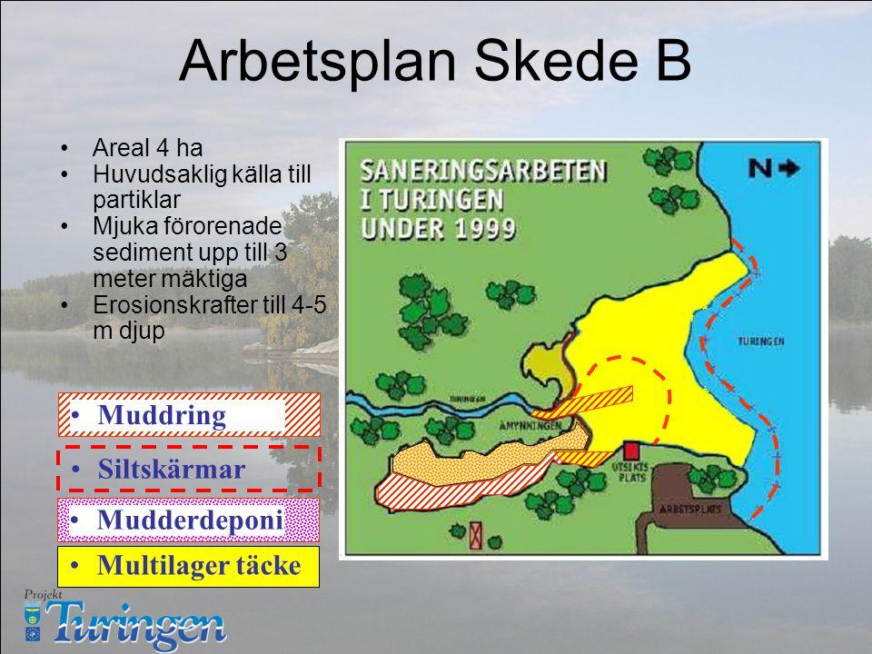 Arbetsplan Skede B Areal 4 ha Huvudsaklig källa till partiklar Mjuka förorenade sediment upp till 3 meter mäktiga Erosionskrafter till 4-5 m djup Muddring Multilager täcke MudderdeponiSiltskärmar