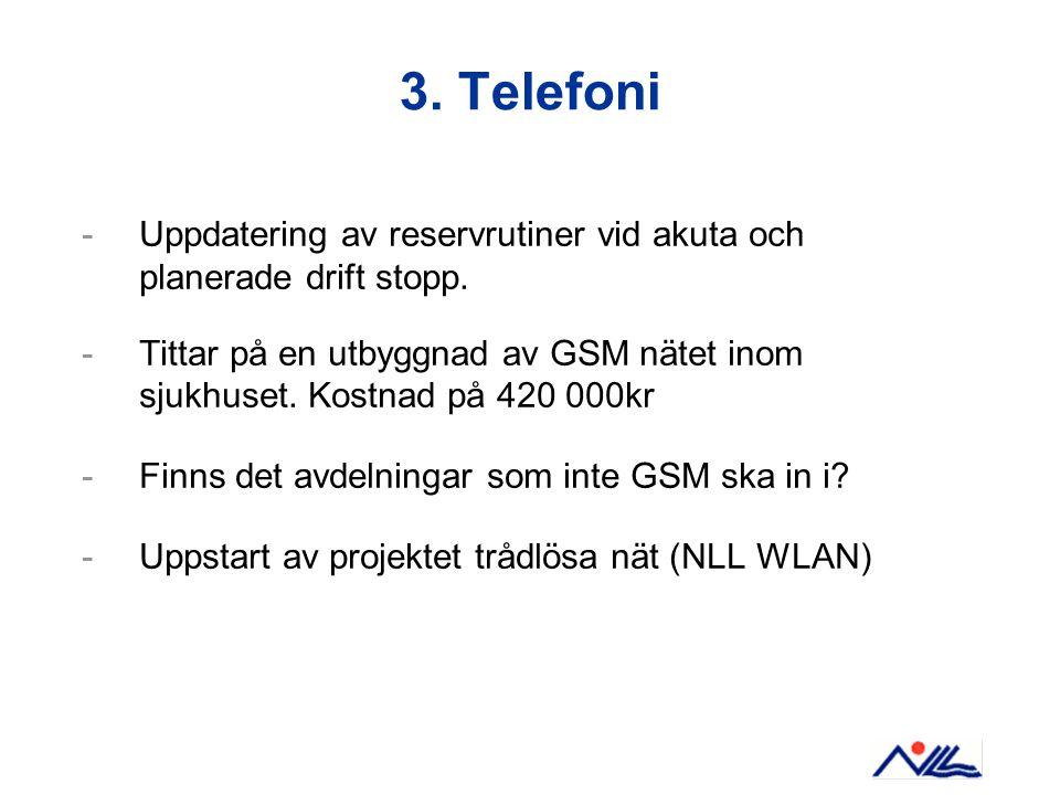 3. Telefoni -Uppdatering av reservrutiner vid akuta och planerade drift stopp.