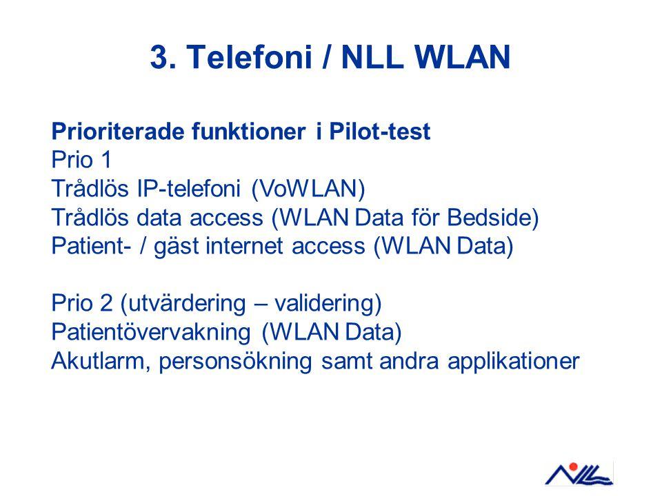 3. Telefoni / NLL WLAN Prioriterade funktioner i Pilot-test Prio 1 Trådlös IP-telefoni (VoWLAN) Trådlös data access (WLAN Data för Bedside) Patient- /