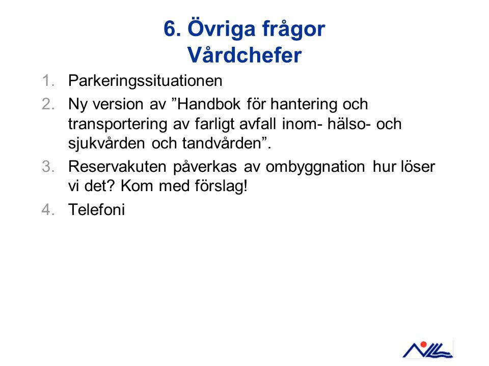 """6. Övriga frågor Vårdchefer 1.Parkeringssituationen 2.Ny version av """"Handbok för hantering och transportering av farligt avfall inom- hälso- och sjukv"""