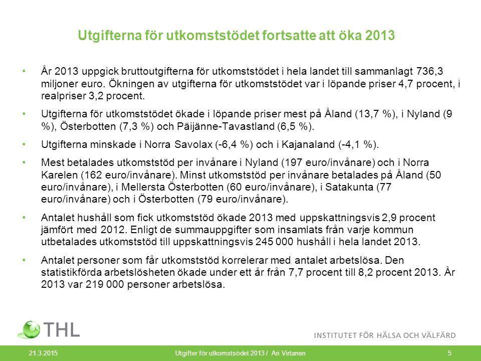 Utgifterna för utkomststödet fortsatte att öka 2013 År 2013 uppgick bruttoutgifterna för utkomststödet i hela landet till sammanlagt 736,3 miljoner euro.
