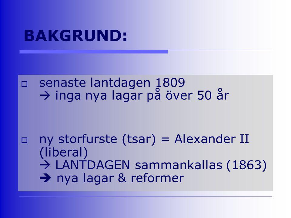 BAKGRUND:  senaste lantdagen 1809  inga nya lagar på över 50 år  ny storfurste (tsar) = Alexander II (liberal)  LANTDAGEN sammankallas (1863)  nya lagar & reformer