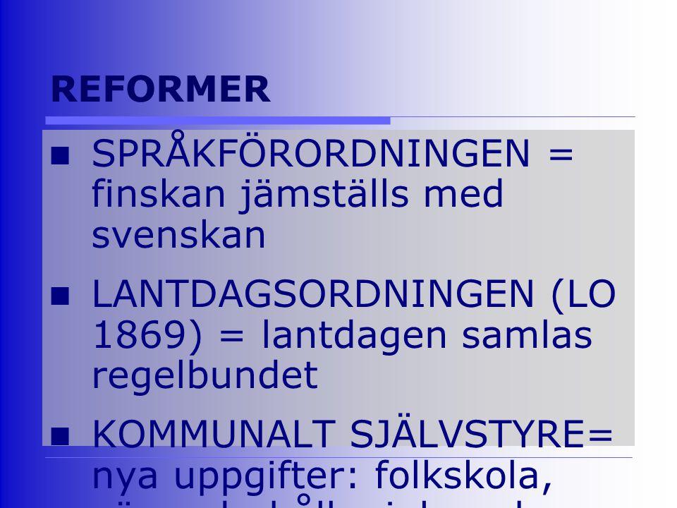 REFORMER SPRÅKFÖRORDNINGEN = finskan jämställs med svenskan LANTDAGSORDNINGEN (LO 1869) = lantdagen samlas regelbundet KOMMUNALT SJÄLVSTYRE= nya uppgifter: folkskola, vägunderhåll, sjuk- och fattigvård ARMÉ & ALLMÄN VÄRNPLIKT EGET MYNT = mark & penni