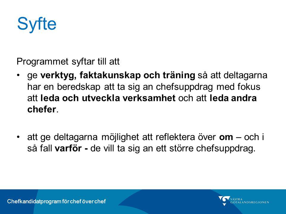 Chefkandidatprogram för chef över chef Målgrupp Första linjens chefer som visat ett intresse för att ta sig an ett större chefsuppdrag.