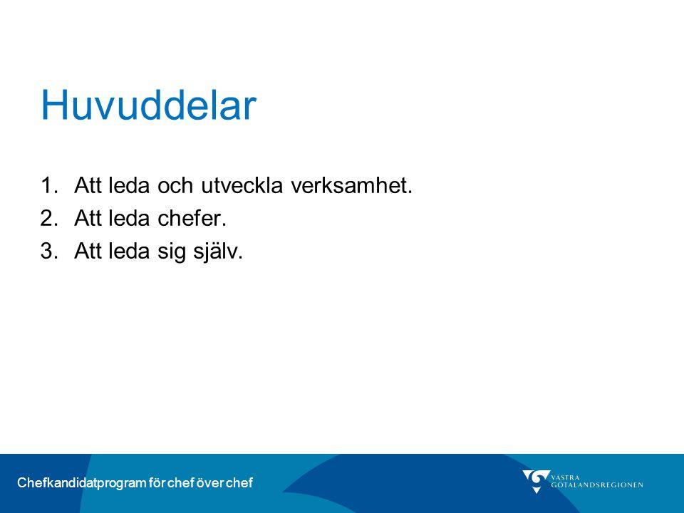 Chefkandidatprogram för chef över chef Huvuddelar 1.Att leda och utveckla verksamhet.