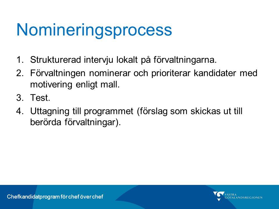 Chefkandidatprogram för chef över chef Nomineringsprocess 1.Strukturerad intervju lokalt på förvaltningarna.