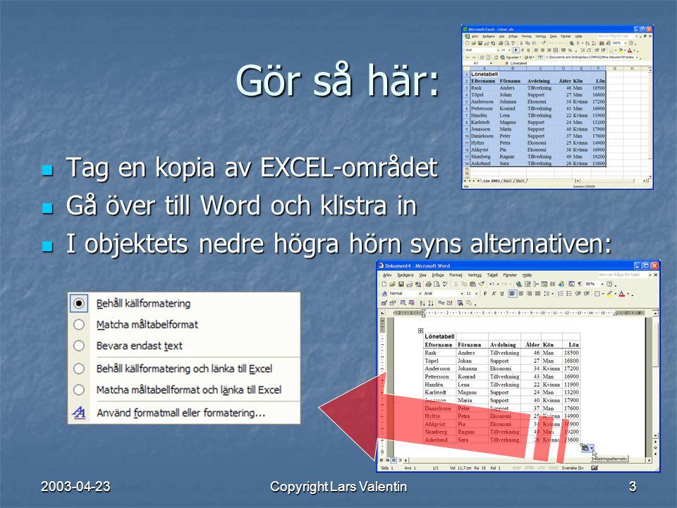 2003-04-23Copyright Lars Valentin4 Inklistrings-alternativen EXCELs typsnitt bibehålles WORDs typsnitt används Ingen struktur – bara text.