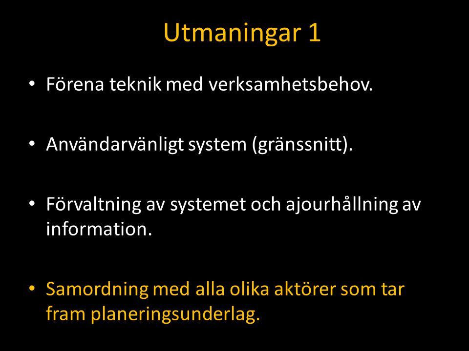 Utmaningar 1 Förena teknik med verksamhetsbehov. Användarvänligt system (gränssnitt). Förvaltning av systemet och ajourhållning av information. Samord